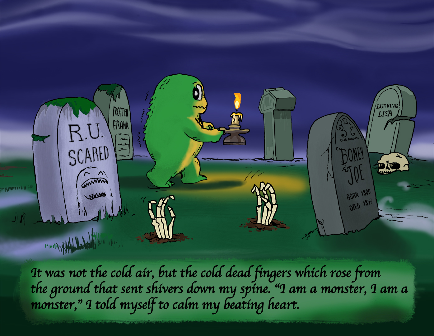 Swampy walks through a graveyard in the night